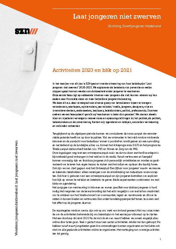 Activiteiten 2020, blik op 2021